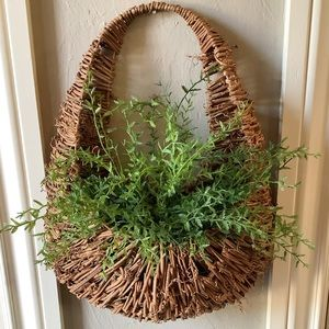 WALL HANGING BASKET WITH FAUX GREENERY